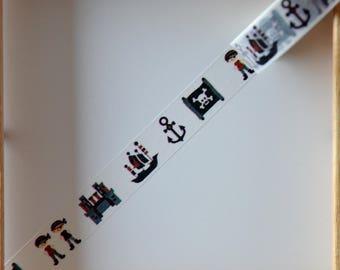 "Masking tape - pattern ""Little PIRATE"" - 1.5 cm x 10 m"