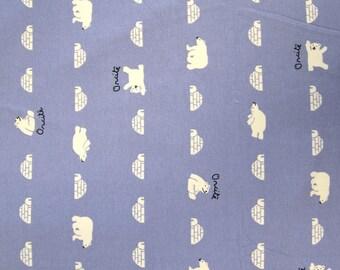 """Polar bear"" pattern blue cotton JERSEY."