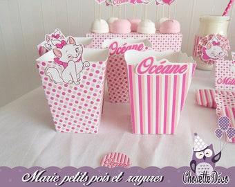 Hot pink sweets x 2 - Marie cat - small dots and stripes pot