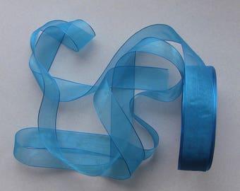 10 meters of 25mm blue organza Ribbon