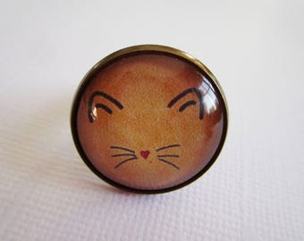 """""""Whiskers"""" costume jewelry, bronze cabochon ring"""