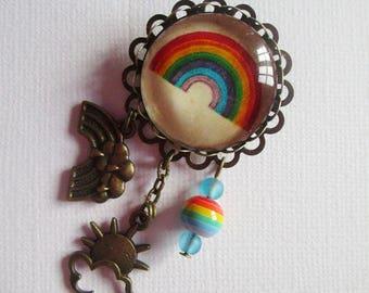 "Brooch ""Rainbow"", costume jewelry, bronze"