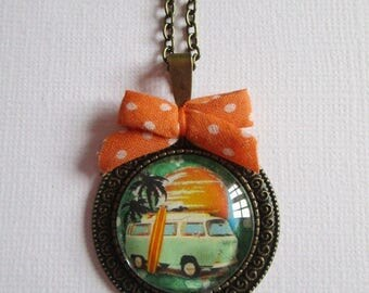 """Surf Sun and Combi"" necklace, bronze cabochon, costume jewelry"