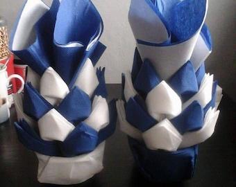 Folding towel dispenser in Navy Blue pineapple formula and white