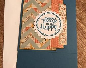 "Just Because Handmade Card Blue Base 7"" x 5"" Top Fold Gift/Cash Pocket Card"