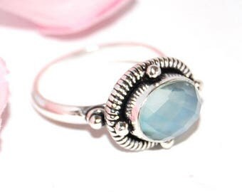 Fine silver and blue chalcedony 925 Silver ring - size 50