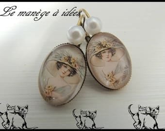 """Bronze metal Stud Earrings """"Pretty woman with the romantic hat"""""""