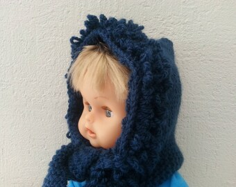 Hat and scarf (0.24 month) Navy blue trimmed in fur stitch
