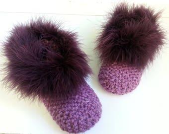 Women's slippers in raspberry pink wool 33-37 T - Christmas gift ideas