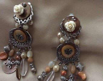 long fancy clip earrings Brown charms and beads