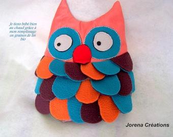 "Heating pad dry baby ""OWL"" colored fleece"