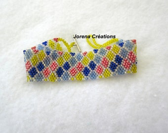 Woven multicolored seed beads peyote Cuff Bracelet