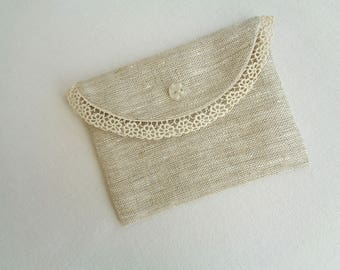 Mini pouch in linen for jewelry, handkerchiefs, cards