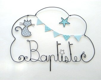 """Wire name customizable cloud """"cat O'MALLET"""" wall decor for child's room"""