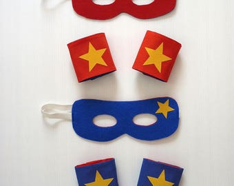 Mask and cuffs superhero REVERSIBLE cotton and felt red and blue mask, cuffs, super hero, felt, red, blue