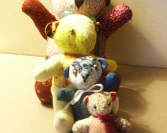cotton patchwork series multicolor bear
