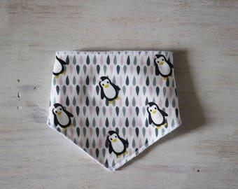 Pink Penguin bib bandana