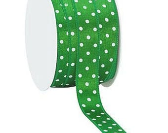 Satin ribbon / green polka dot white / 10mm cut 50cm width