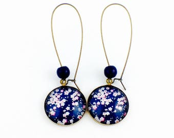 Long earrings - cabochon - Japanese flowers Sakuro