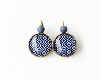 Sleepers bronze earrings - cabochon * Pop stars
