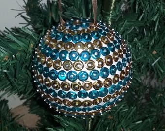 Christmas ball with sequins - blue and gold