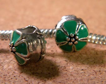 bead charm European - style pandor@-10 mm - spray-painted European bead - green enamel cherry blossom - C54