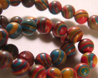 10 beads natural stone - multicolored - 8 mm - A - PP - 10