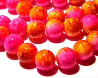 shiny 2 tone - 10 mm - fuchsia and mustard PG127 1 20 beads marbled glass