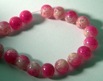 10 trefilee 8 mm neon pink glass beads