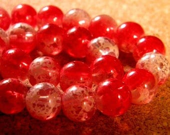 20 10 mm speckled 2 tone translucent glass beads - red PE188 3