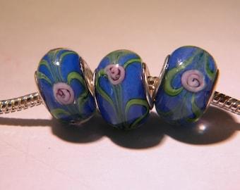 2 bead charm European - glass lampwork - 14 x 11 mm - encrusted Blue rose - D45