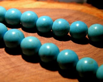 10 pearls way-howlite 10 mm - turquoise synthetic turquoise PG125