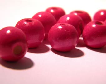 100 natural wooden beads in 12 mm - wood painted and varnished - fuchsia, dark - BO-7