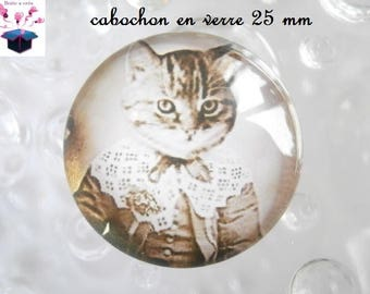 1 cabochon in. curved glass 25mm as dog and cat theme