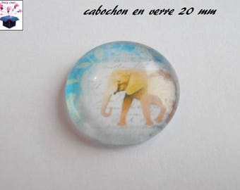 1 cabochon clear 20mm elephant theme