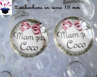 2 theme mam Missy coconut 18mm domed glass cabochon