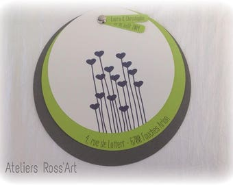 Round green and gray wedding invitation handmade customize