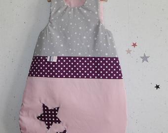Sleeping bag 0-6 month winter powder pink, grey and plum