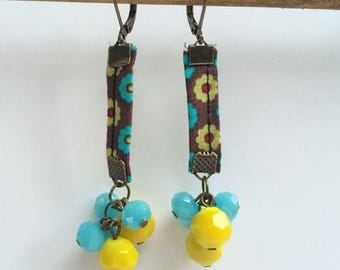 Blue & yellow faceted glass earrings