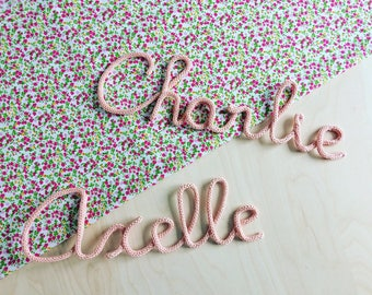 Knitting first name or Word or decoration woolen customizable at will