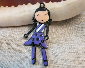 Pendant x 1 black and enameled body dress 62 x 25 mm