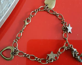bronze chain bracelet with charms