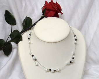 Wedding necklace 2 rows black and white beads.