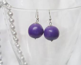 Purple fimo bead ball earrings