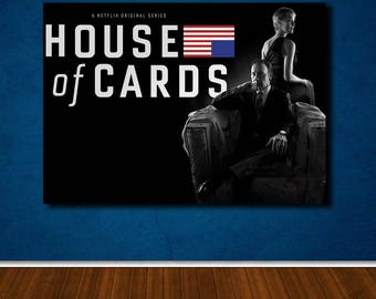 House of Cards poster canvas wall art, wall decor, home decor, print A1 A2 A3 A4 sizes, big framed poster, gift for him, birthday gift