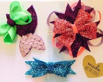 Mermaid style hair bows, glitter, pink hair bow, blue hair bow, mermaid hair bow, stacked bow, boutique hair bow, girls hair bows,