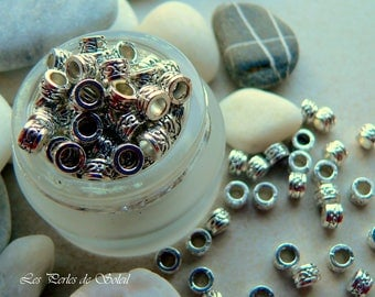 25 small antique 3mm x 5mm silver metal tube beads