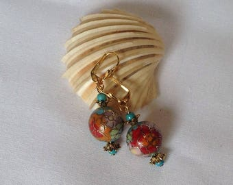 Multicolored cloisonné bead earrings.