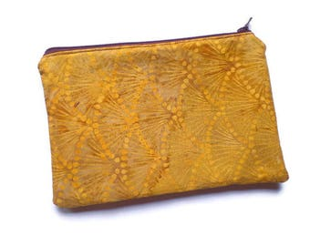 Zippered Cosmetic Bag, Makeup Pouch, Toiletries Purse, Pencil Case, in Mustard Yellow Batik Fabric, Fully Lined