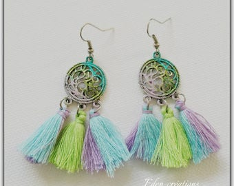 Earrings tassel, boho, stained, patinated
